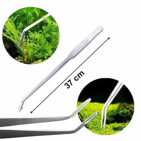 Pince courbe à planter inox 37 cm